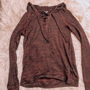 Lace up hooded heathered red long sleeve